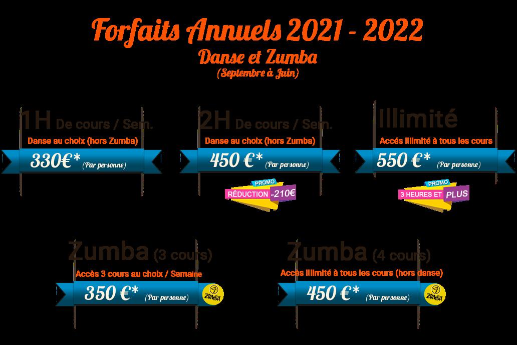 tarifs saison 2021-2022